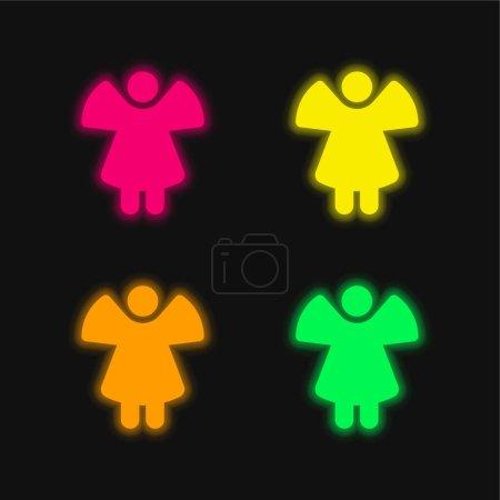 Photo pour Ange quatre couleurs brillant icône vectorielle néon - image libre de droit
