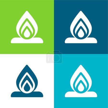 Illustration pour Ensemble d'icônes minimal quatre couleurs Bonfire Flat - image libre de droit