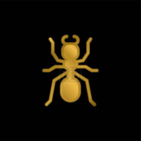 Illustration pour Ant plaqué or icône métallique ou logo vecteur - image libre de droit