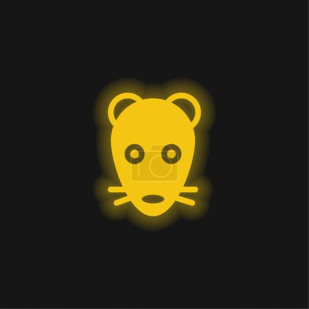 Animal Face yellow glowing neon icon