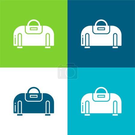 Illustration for Bag Flat four color minimal icon set - Royalty Free Image
