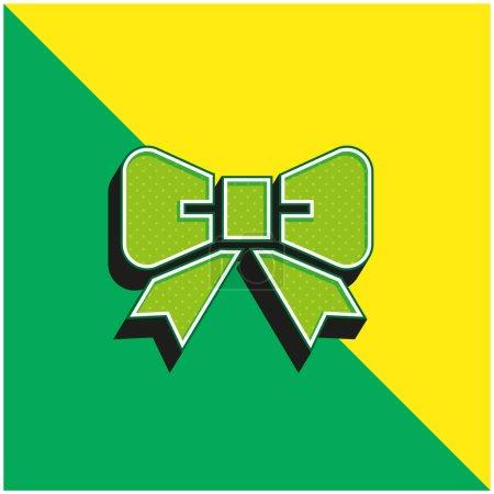 Illustration pour Noeud papillon vert et jaune icône vectorielle 3d moderne logo - image libre de droit