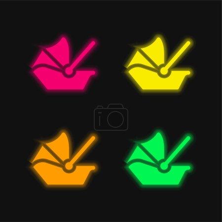 Porte-bébé quatre couleurs brillant icône vectorielle néon