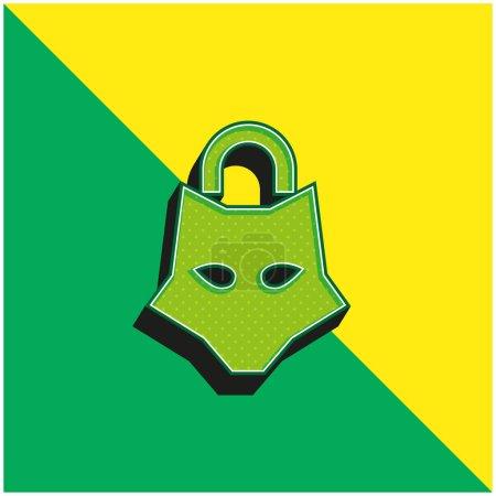 Photo pour Cadenas animal Logo vectoriel 3D moderne vert et jaune - image libre de droit