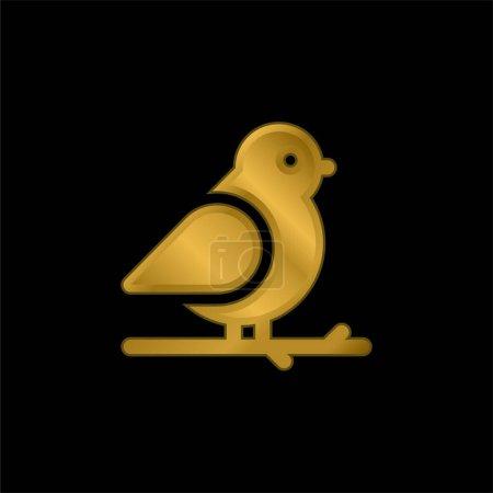 Illustration pour Oiseau plaqué or icône métallique ou logo vecteur - image libre de droit