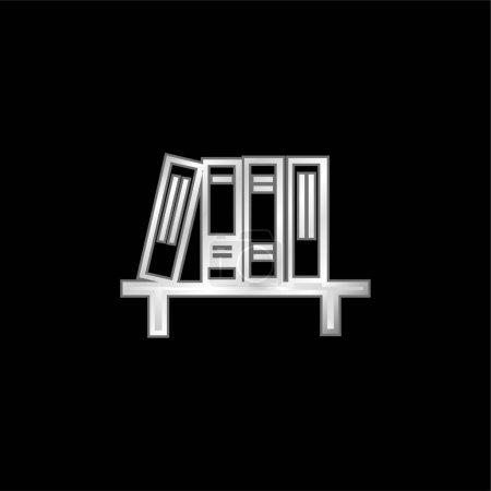 Illustration pour Livres argent plaqué icône métallique - image libre de droit