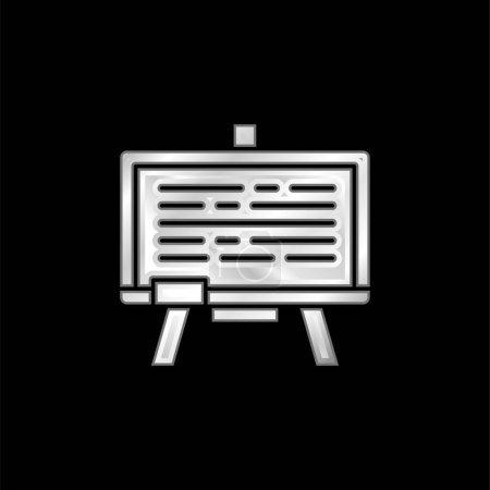 Illustration pour Tableau noir argent plaqué icône métallique - image libre de droit