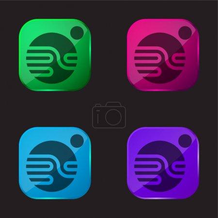 Illustration pour Astronomie icône bouton en verre quatre couleurs - image libre de droit