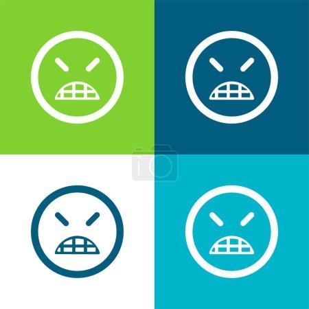 Illustration pour Angry Emoticon visage carré avec les yeux fermés Ensemble d'icône minime plat de quatre couleurs - image libre de droit