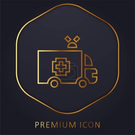Illustration pour Ambulance ligne d'or logo premium ou icône - image libre de droit