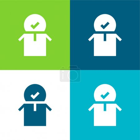Illustration for Approved Flat four color minimal icon set - Royalty Free Image