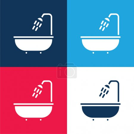Bathtub blue and red four color minimal icon set