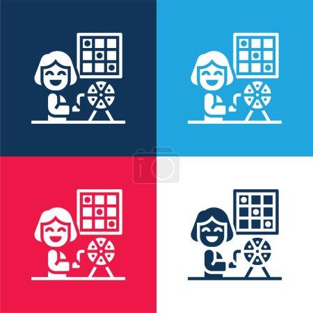 Illustration pour Ensemble d'icônes minimales de quatre couleurs bleu et rouge bingo - image libre de droit