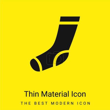 Illustration pour Chaussette d'athlétisme minimaliste jaune vif icône matérielle - image libre de droit