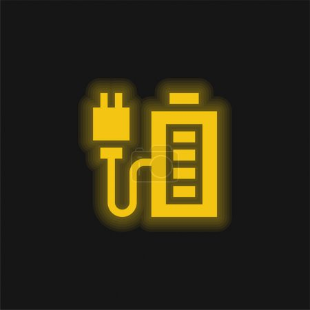 Illustration for Battery Charge yellow glowing neon icon - Royalty Free Image