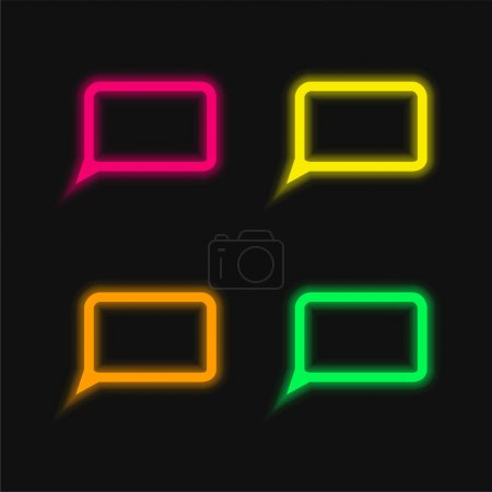 Blank Speech Bubble four color glowing neon vector icon