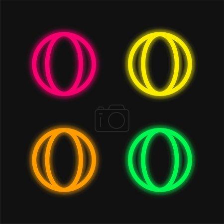 Photo pour Baby Ball Toy icône vectorielle néon éclatante à quatre couleurs - image libre de droit
