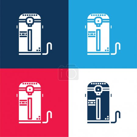 Illustration for Boiler blue and red four color minimal icon set - Royalty Free Image