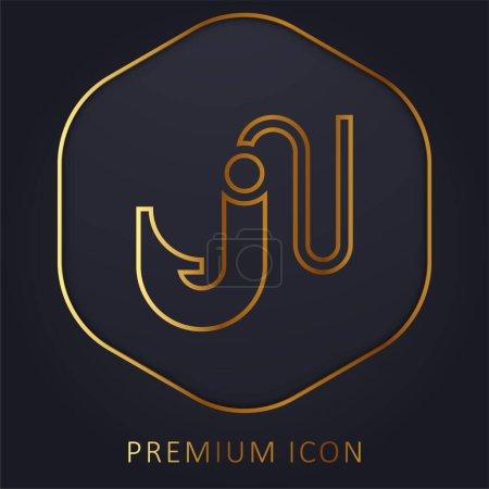 Illustration pour Appât ligne dorée logo premium ou icône - image libre de droit