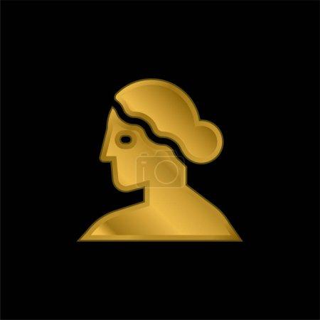 Afrodita chapado en oro icono metálico o logo vector