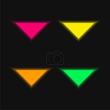 Illustration pour Flèche pointant vers le bas quatre couleur brillant icône vectorielle néon - image libre de droit
