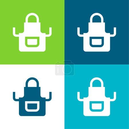 Illustration pour Tablier plat quatre couleurs minimum icône ensemble - image libre de droit