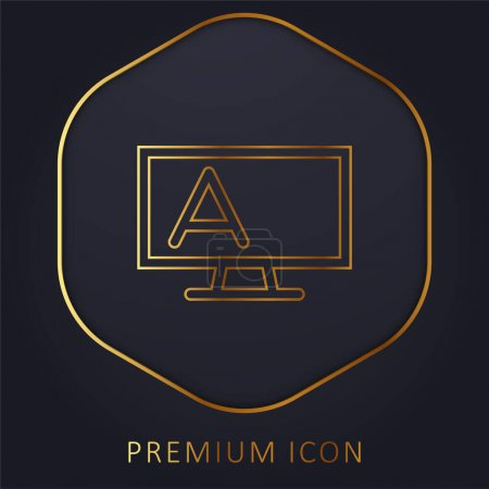 Blackboard Outline With Stand And Letter A golden line premium logo or icon