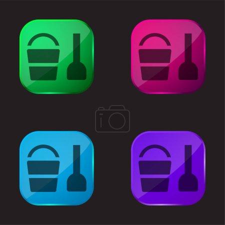 Illustration pour Jouet de plage icône de bouton en verre quatre couleurs - image libre de droit