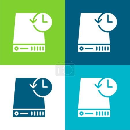 Illustration for Backup Flat four color minimal icon set - Royalty Free Image