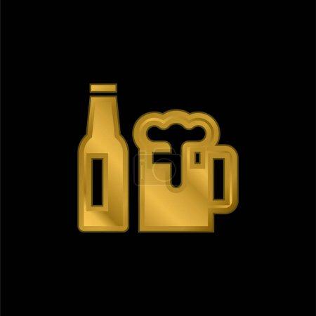 Illustration pour Bière plaqué or icône métallique ou logo vecteur - image libre de droit