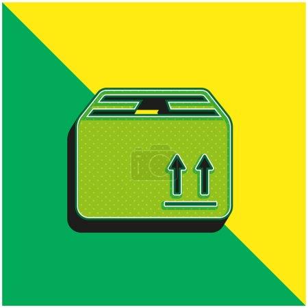 Illustration pour Boîte d'emballage pour la livraison Logo vectoriel 3d moderne vert et jaune - image libre de droit