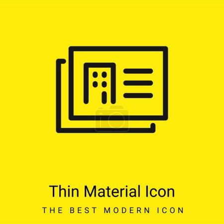Illustration pour Architecte Cartes de présentation icône minimale de matériau jaune vif - image libre de droit