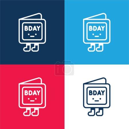Illustration pour Invitation d'anniversaire bleu et rouge quatre couleurs minimum jeu d'icônes - image libre de droit