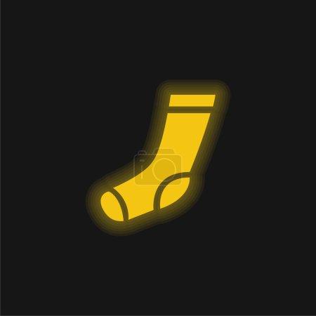 Illustration pour Chaussette d'athlétisme jaune brillant icône néon - image libre de droit