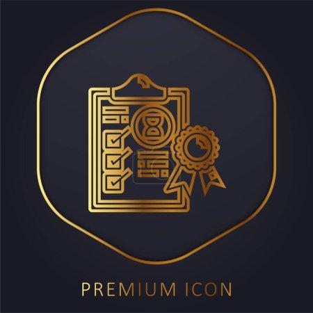 Illustration pour Assurance ligne d'or logo premium ou icône - image libre de droit