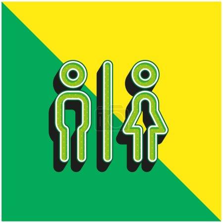 Illustration pour Salles de bain Logo icône vectorielle 3D moderne vert et jaune - image libre de droit