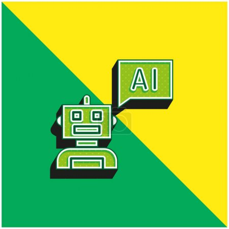 Bot Green and yellow modern 3d vector icon logo