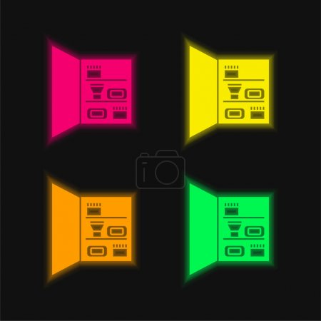 Bathroom Closet With Personal Care Objects four color glowing neon vector icon
