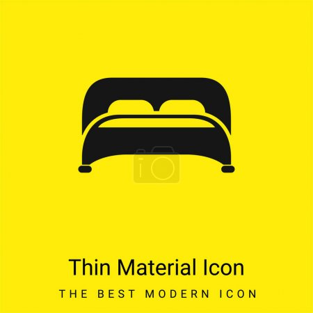Bed With Two Pillows Bottom View minimal bright yellow material icon