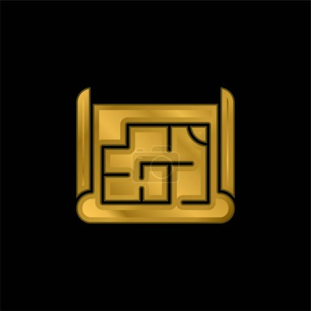 Icône métallique plaqué or Blueprint ou vecteur de logo