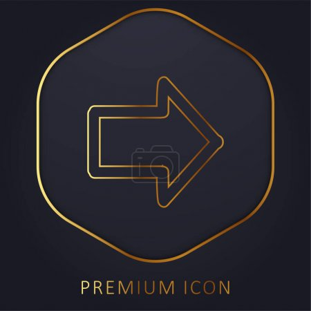 Arrow Pointing To Right Hand Drawn Symbol golden line premium logo or icon