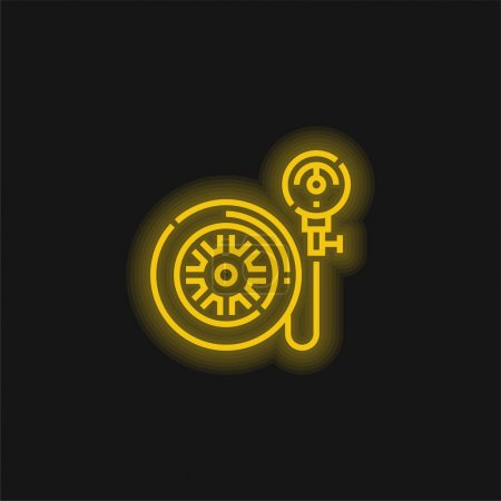 Air Pump yellow glowing neon icon
