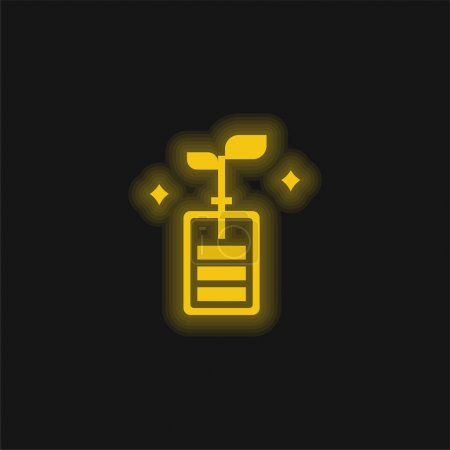 Illustration for Battery yellow glowing neon icon - Royalty Free Image