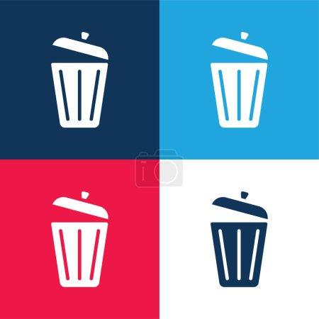 Illustration pour Poubelle bleu et rouge quatre couleurs minimum jeu d'icônes - image libre de droit