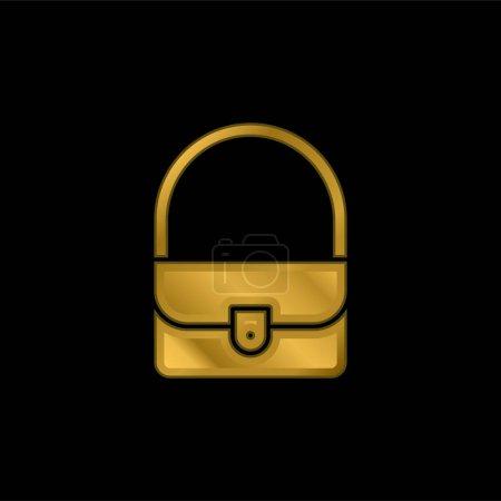 Illustration pour Sac icône métallique plaqué or ou logo vecteur - image libre de droit