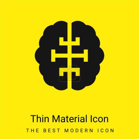 Illustration pour Cerveau minimal jaune vif icône matérielle - image libre de droit