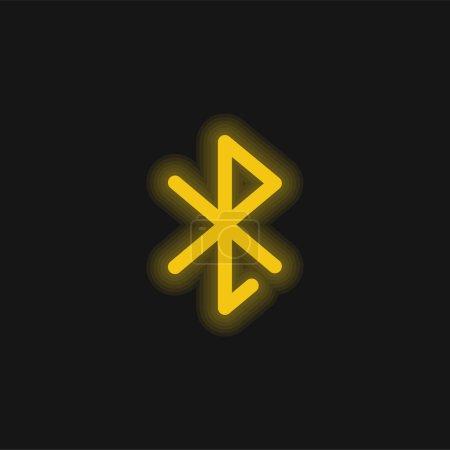 Illustration pour Icône néon jaune Bluetooth - image libre de droit