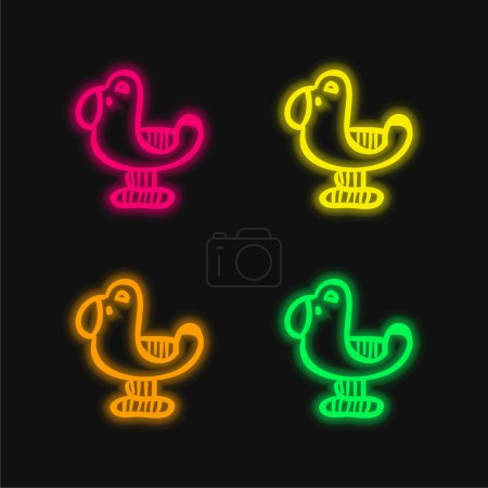 Illustration for Bird Toy four color glowing neon vector icon - Royalty Free Image