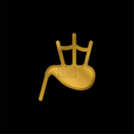 Illustration pour Sac Tuyau plaqué or icône métallique ou logo vecteur - image libre de droit