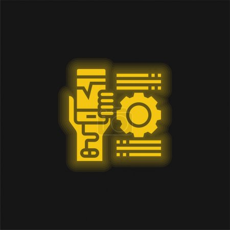 Addiction jaune flamboyant icône néon